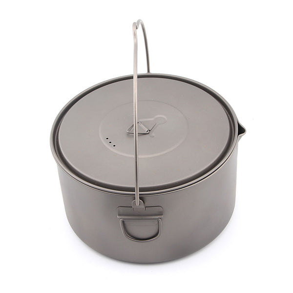 TOAKS POT-2000-BH Titanium Camping Pot with Bail Handle Outdoor Cookware 2000ml