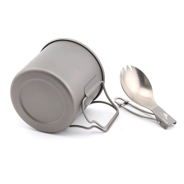 TOAKS T-25 Titanium 375ml Cup with Folding Fork Spoon