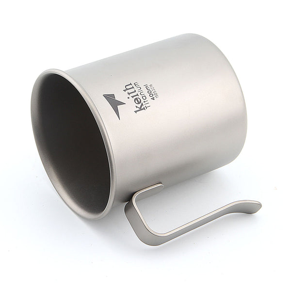 Keith Ti3263 Titanium Camping Cup, Ultralight Cup with Handle, Single-layer Mug