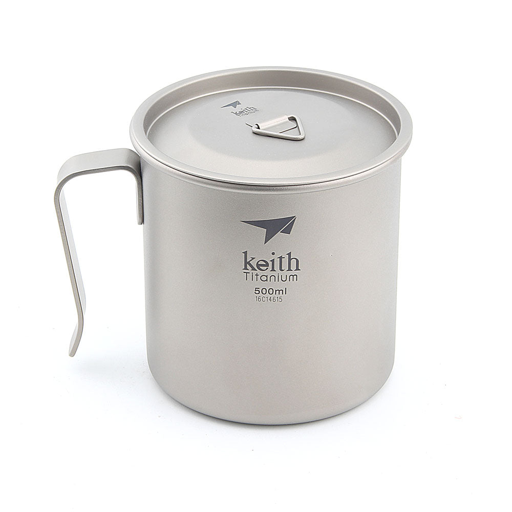 Keith Ti3265 Titanium Camping Cup, Ultralight Cup with Handle, Single-layer Mug