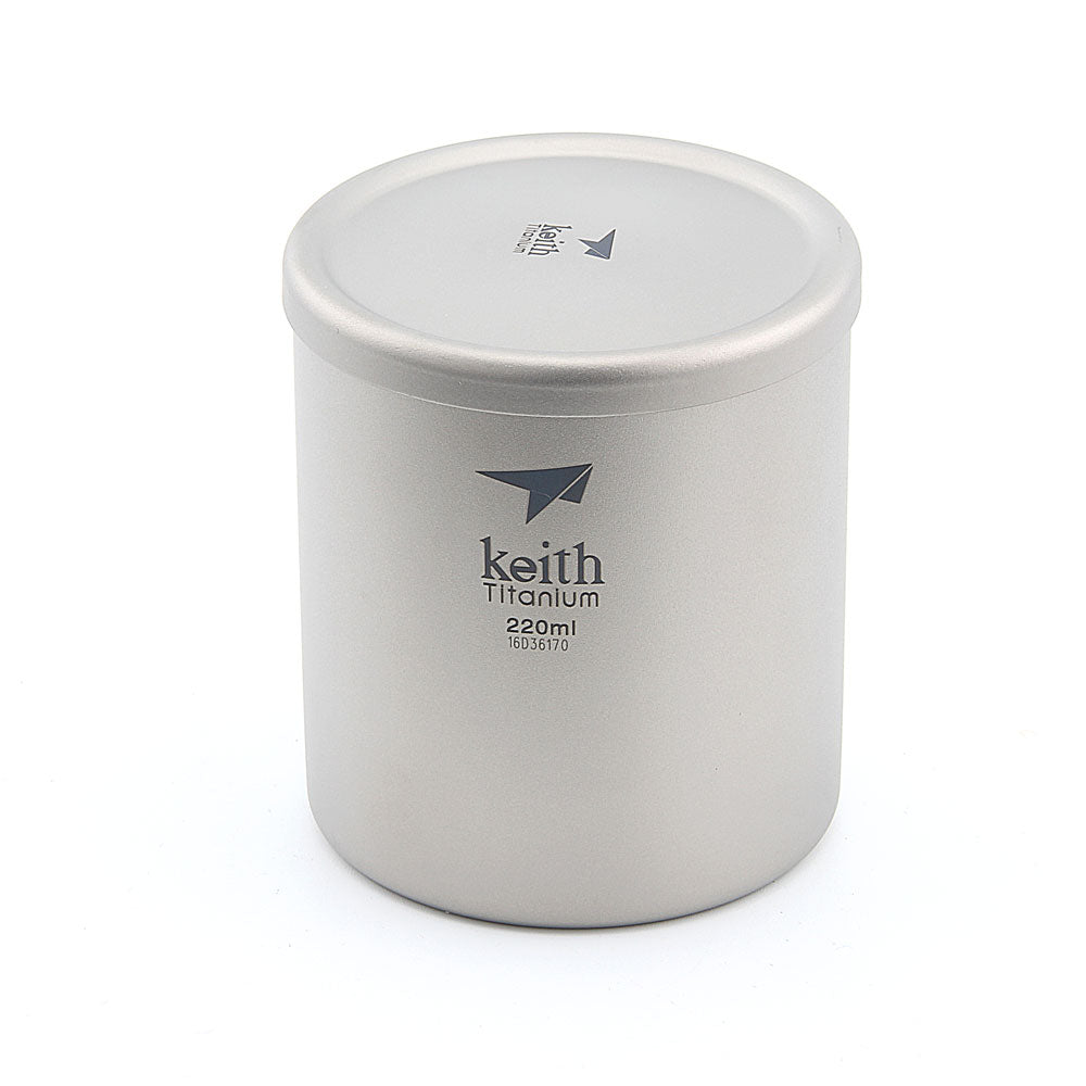 Keith Ti3301(Ti80) Titanium Cup Mug Double-wall Vacuum Water Cup Outdoor Picnic Cookware