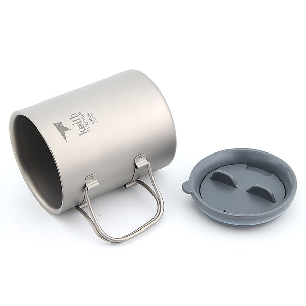Keith Ti3341 New Double-wall Titanium Mug Camping Cup Water Cup 450ml 130g KS815