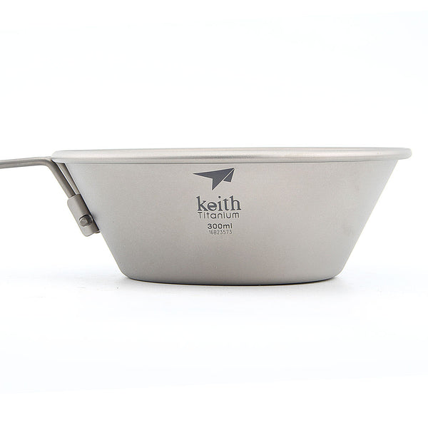 Keith Ti5320 Titanium Bowl Camping Folding Handle Bowl Outdoor Tableware 300ml