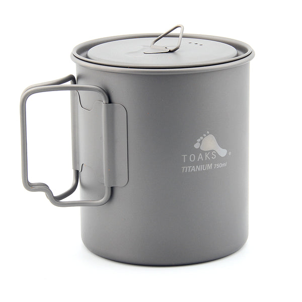 TOAKS Ultralight 750ml Titanium Camping Pot Portable Water Mug Outdoor Hiking
