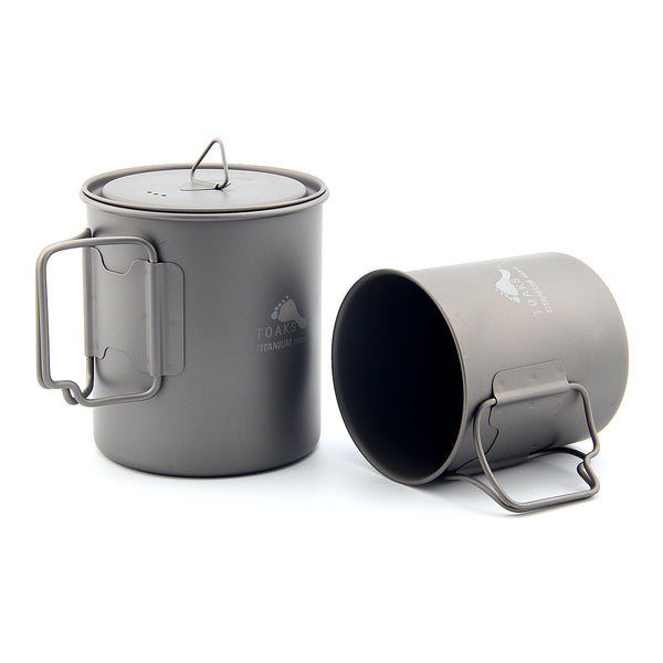 TOAKS CMB-750-450 Titanium Cookware Set 750ml Camping Pot and 450ml Cup