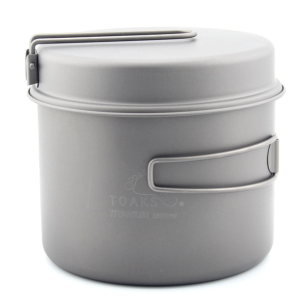 TOAKS CKW-1600 1600ml Cookware Set Ultralight Titanium Camping Pot w Frying Pan