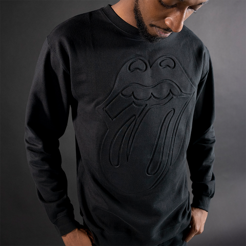 Black on Black Embossed Crewneck