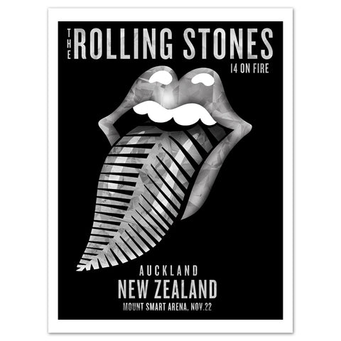 Rolling Stones Auckland Silver Fern Lithograph