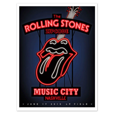 Rolling Stones Nashville Music City Lithograph