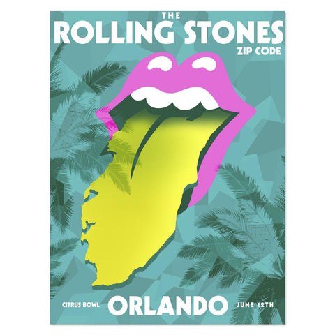 Rolling Stones Orlando Event Tongue Lithograph