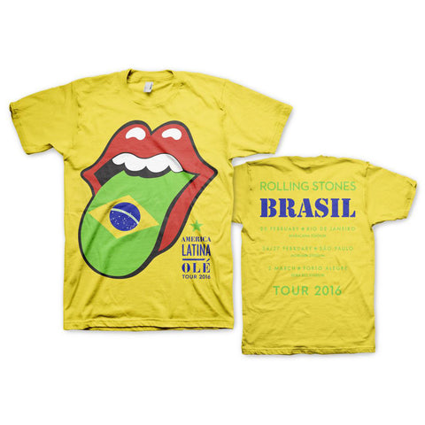 Brasil Flag Tongue and Lips T-Shirt