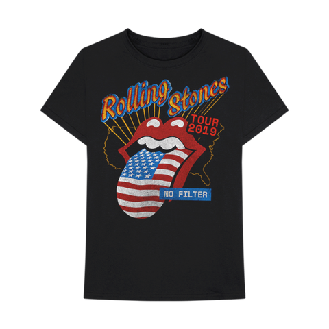 US Flag Tongue Black T-Shirt