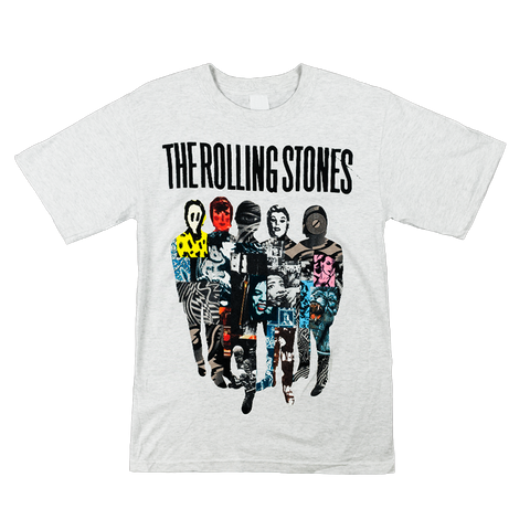 Rolling Stones Silhouette Collage Heather Grey T-Shirt