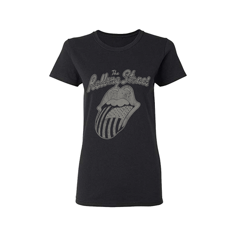 Black and White US Tongue Ladies T-Shirt