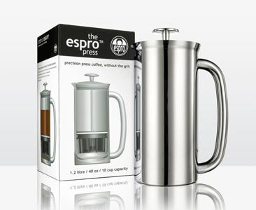 Espro Press coffee maker. Available on-line at Contrabean.ca