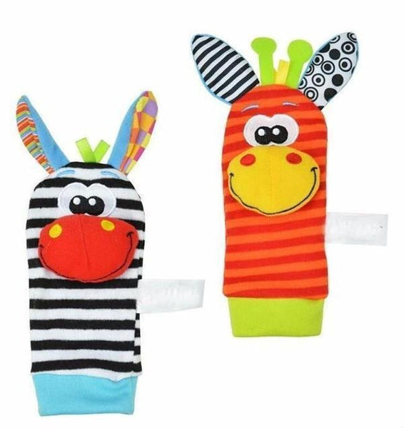 Animal Baby Rattle Set for Hands & Feet (4 pieces) - Toys - Kids Town