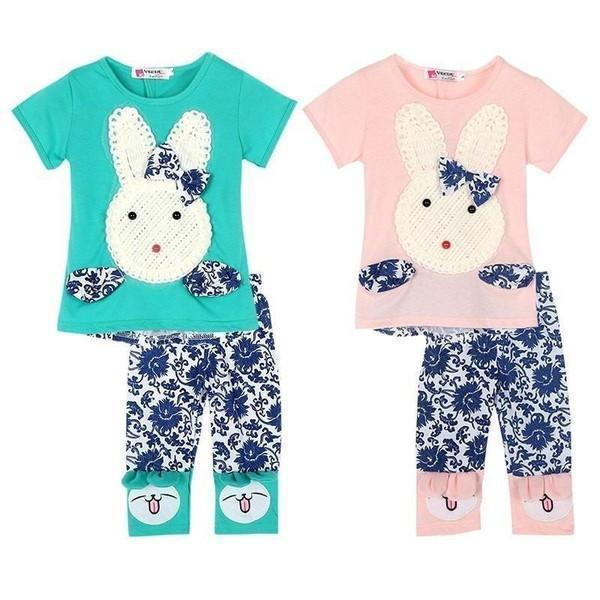 Girls Cute Rabbit Top and Short Pants 2pc Set - Baby Clothing - Kids Town