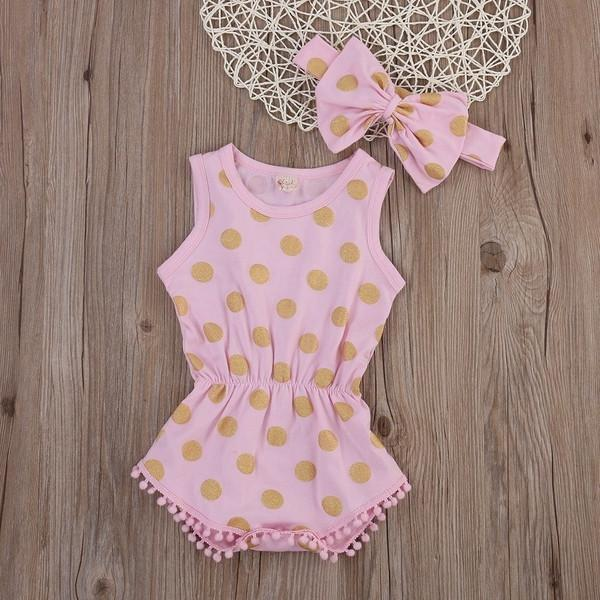 Gold Polka Dot Romper and Headband 2pc Set - Baby Clothing - Kids Town