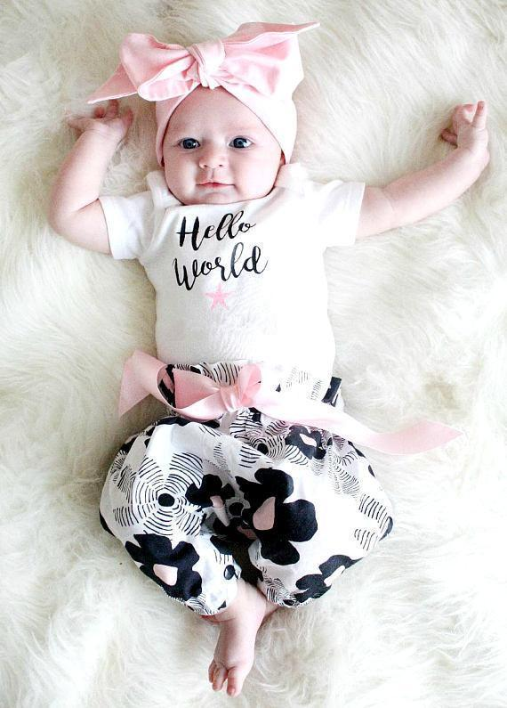 Hello World 3Pc Baby Girl Outfit-Clothing Sets-KidsTown  sc 1 st  Kids Town & Baby Clothing - KidsTown