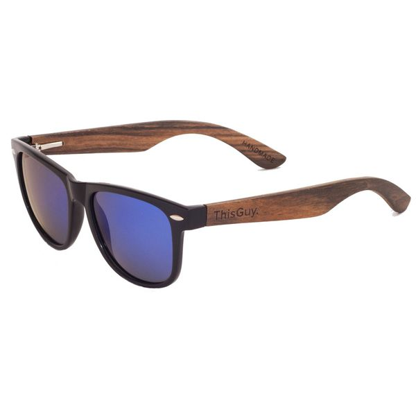 Ebony Wood Wayfarer Style Sunglasses (Black with Blue REVO Lens)