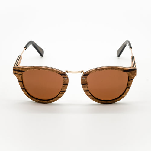 ThisGuy Polarized Wooden Sunglasses - Zebra Wood Fighter Full Frame Front