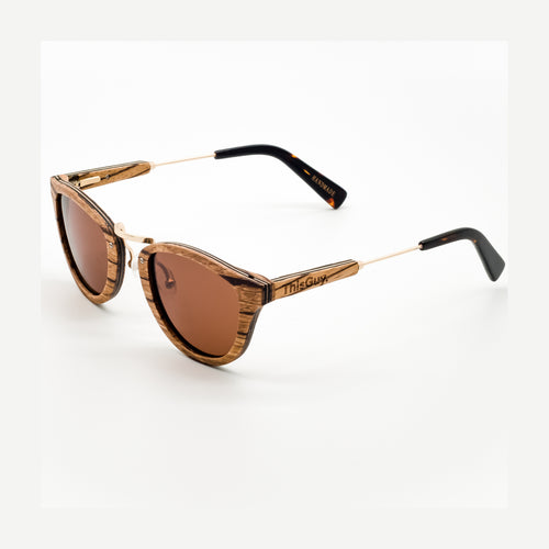 ThisGuy Polarized Wooden Sunglasses - Zebra Wood Fighter Full Frame Left