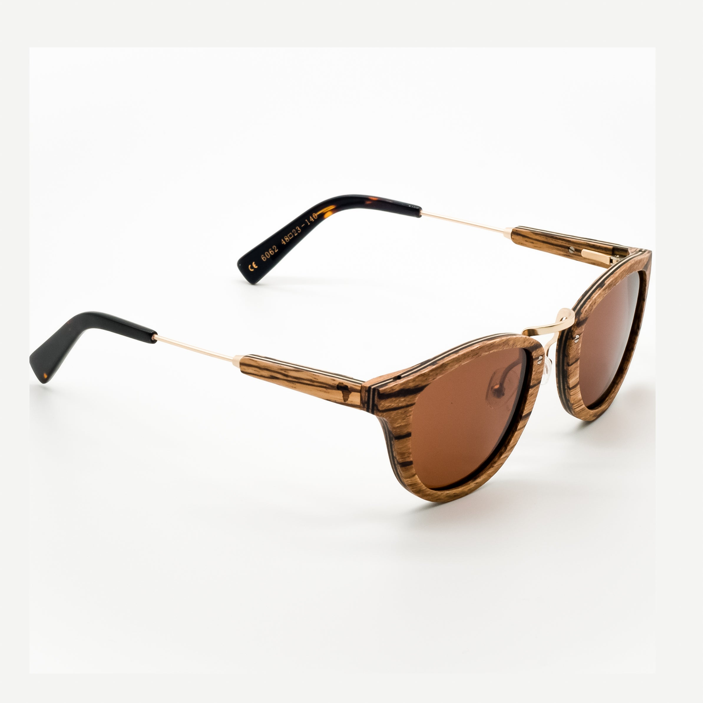 ThisGuy Polarized Wooden Sunglasses - Zebra Wood Fighter Full Frame Right