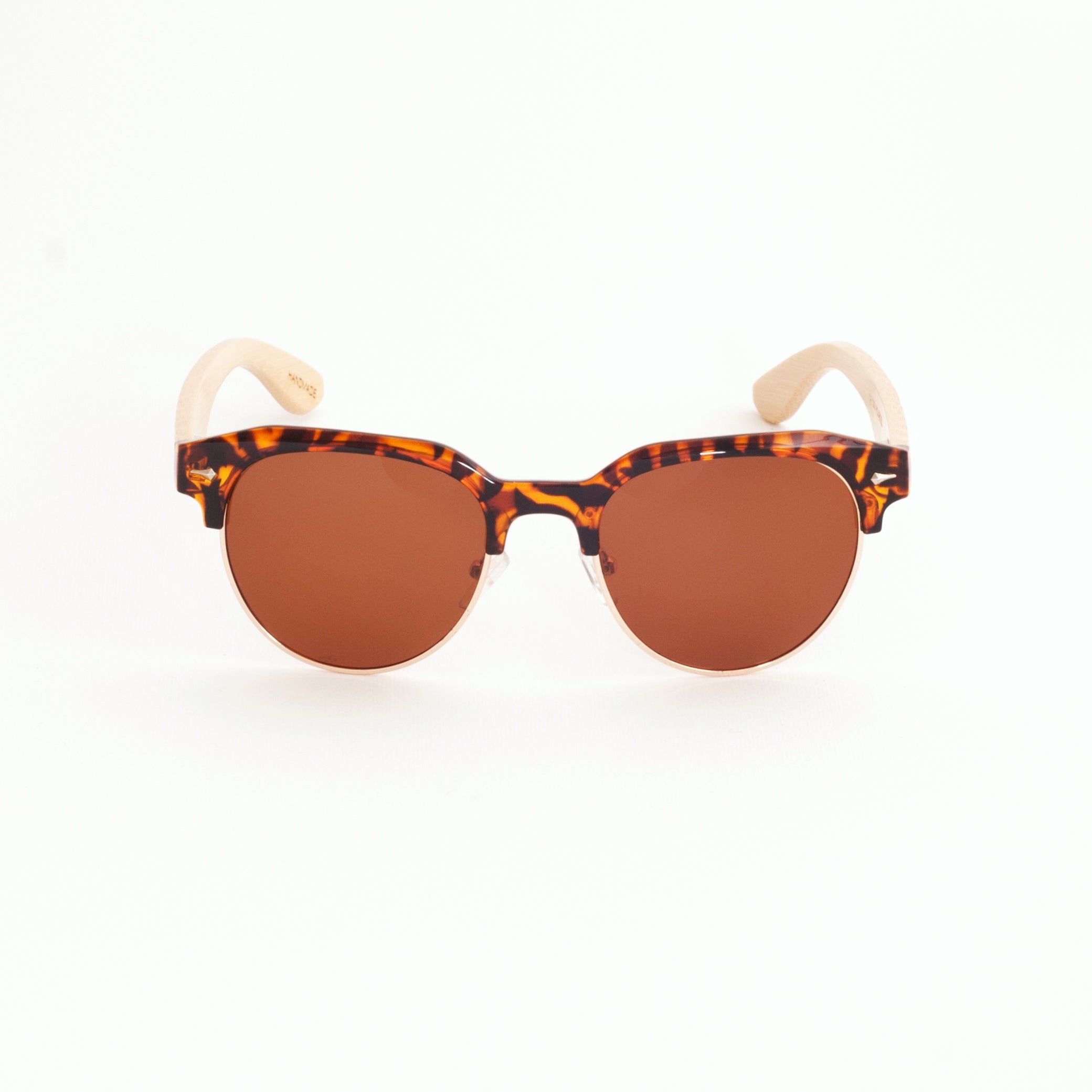 ThisGuy-Womens- Polarized-Bamboo-Wood-Sunglasses-Clubmaster-Tortoise Shell-Front