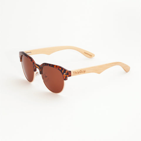 ThisGuy-Womens- Polarized-Bamboo-Wood-Sunglasses-Clubmaster-Tortoise-Shell-Side
