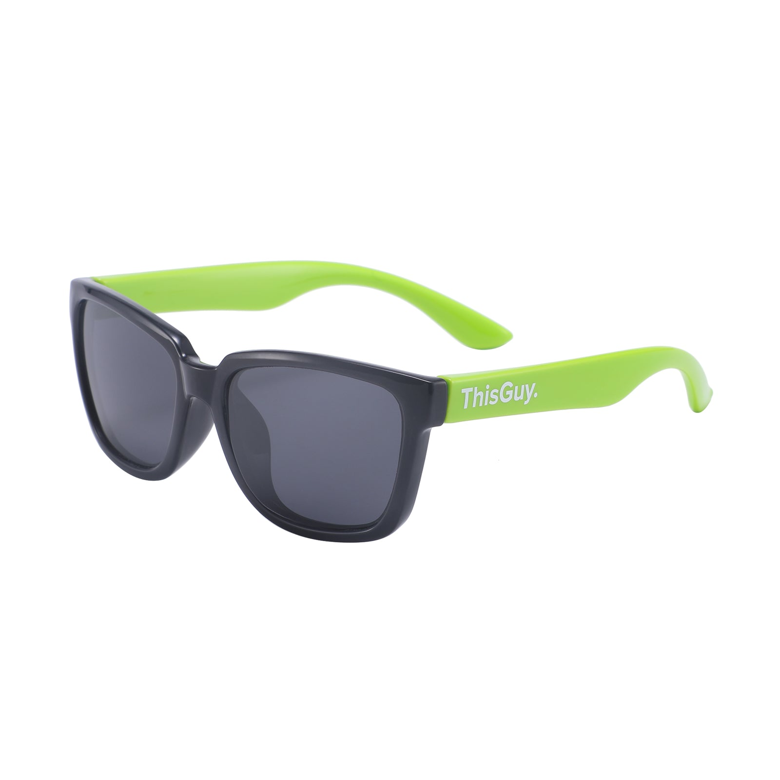 ThisGuy Kids Sunglasses - Black and Lime Green Wayfarers