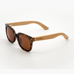 ThisGuy Polarized Wooden Sunglasses - Bamboo Wood Retrofly Left