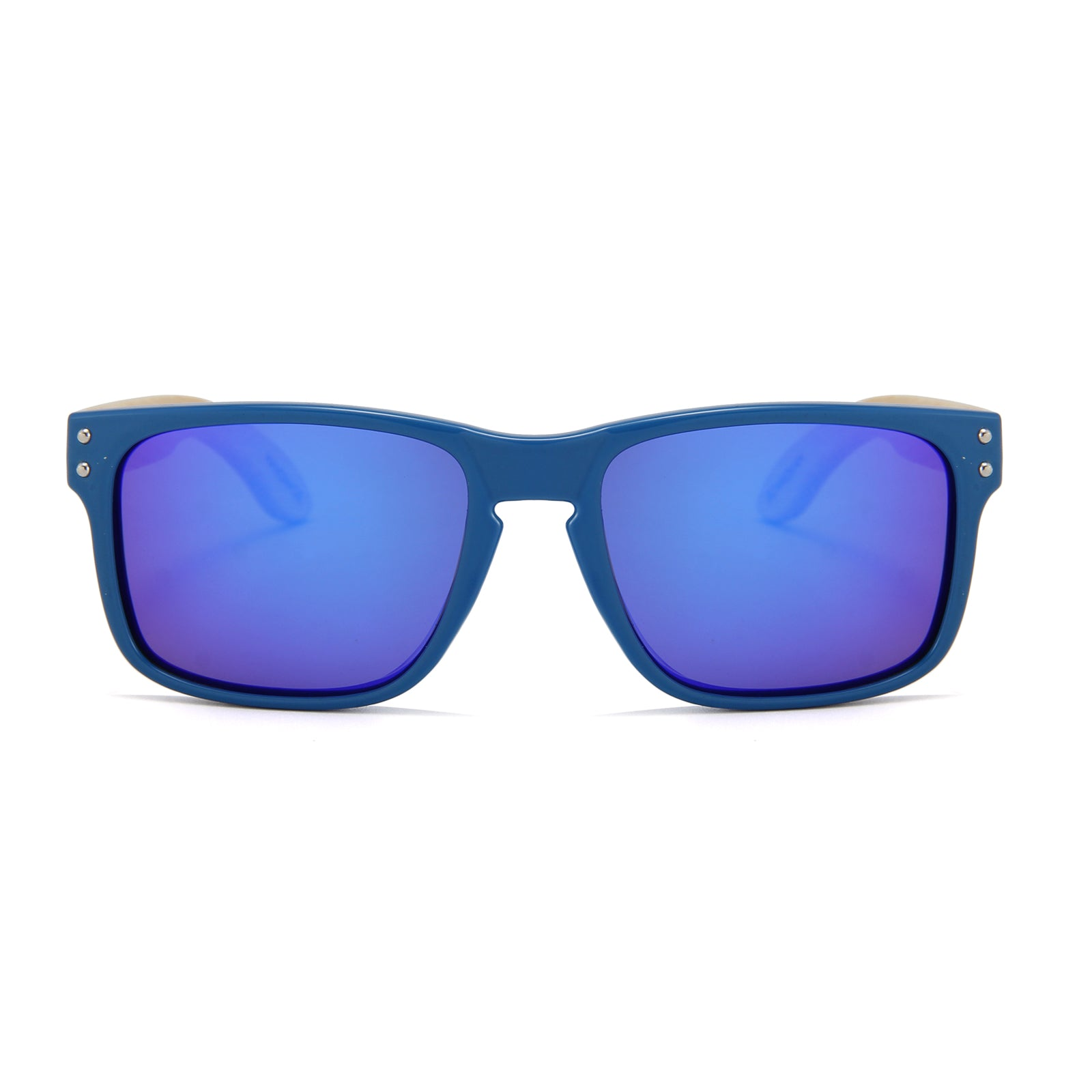 Bamboo Temple Sunglasses (Blue with Blue REVO Lens)