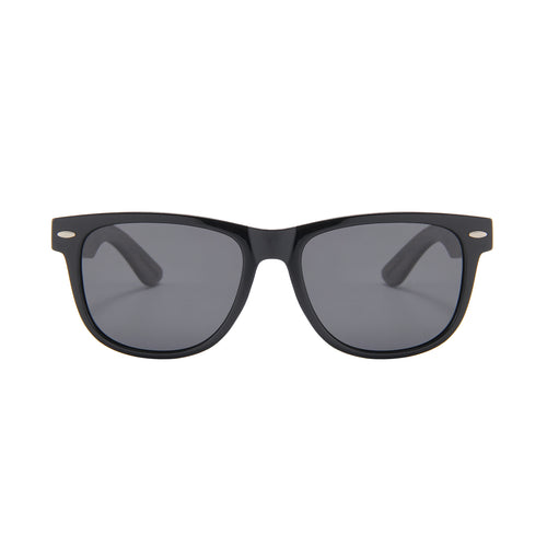 Ebony Wood Wayfarer Sunglasses (Black with Smoke Lens)