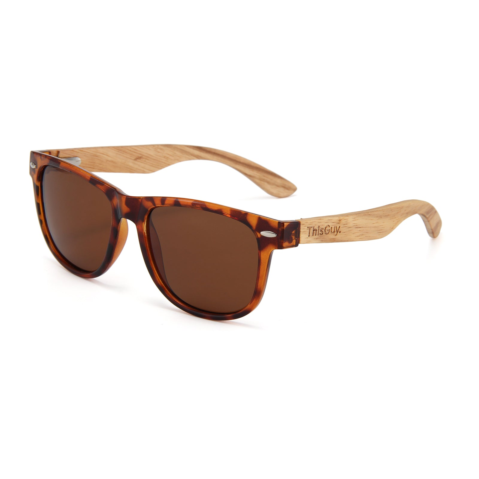 Zebra Wood Wayfarer Sunglasses (Tortoise Shell)