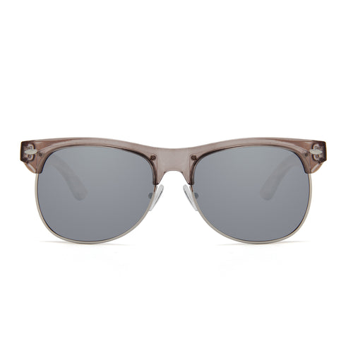 Zebra Wood Clubmaster Sunglasses (Grey with Silver REVO Lens)