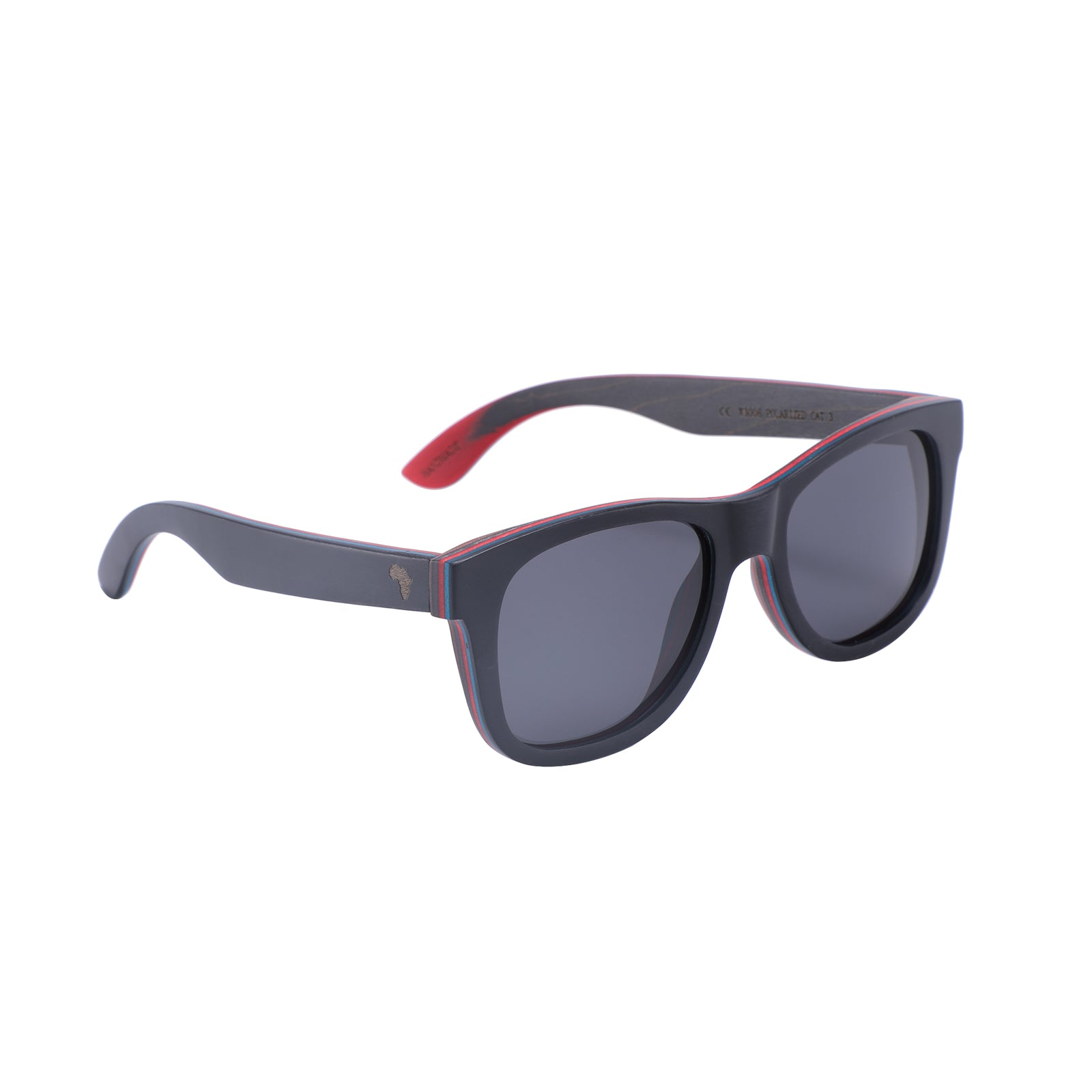 Recycled Skateboard Wood Wayfarers (Black, Full Frame)