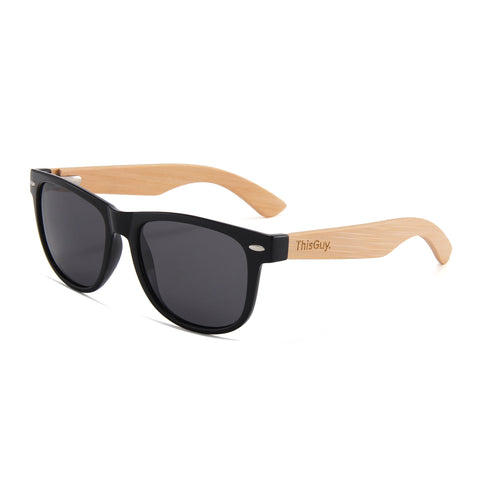 Rose Wood Wayfarer Sunglasses (Red REVO Lens)