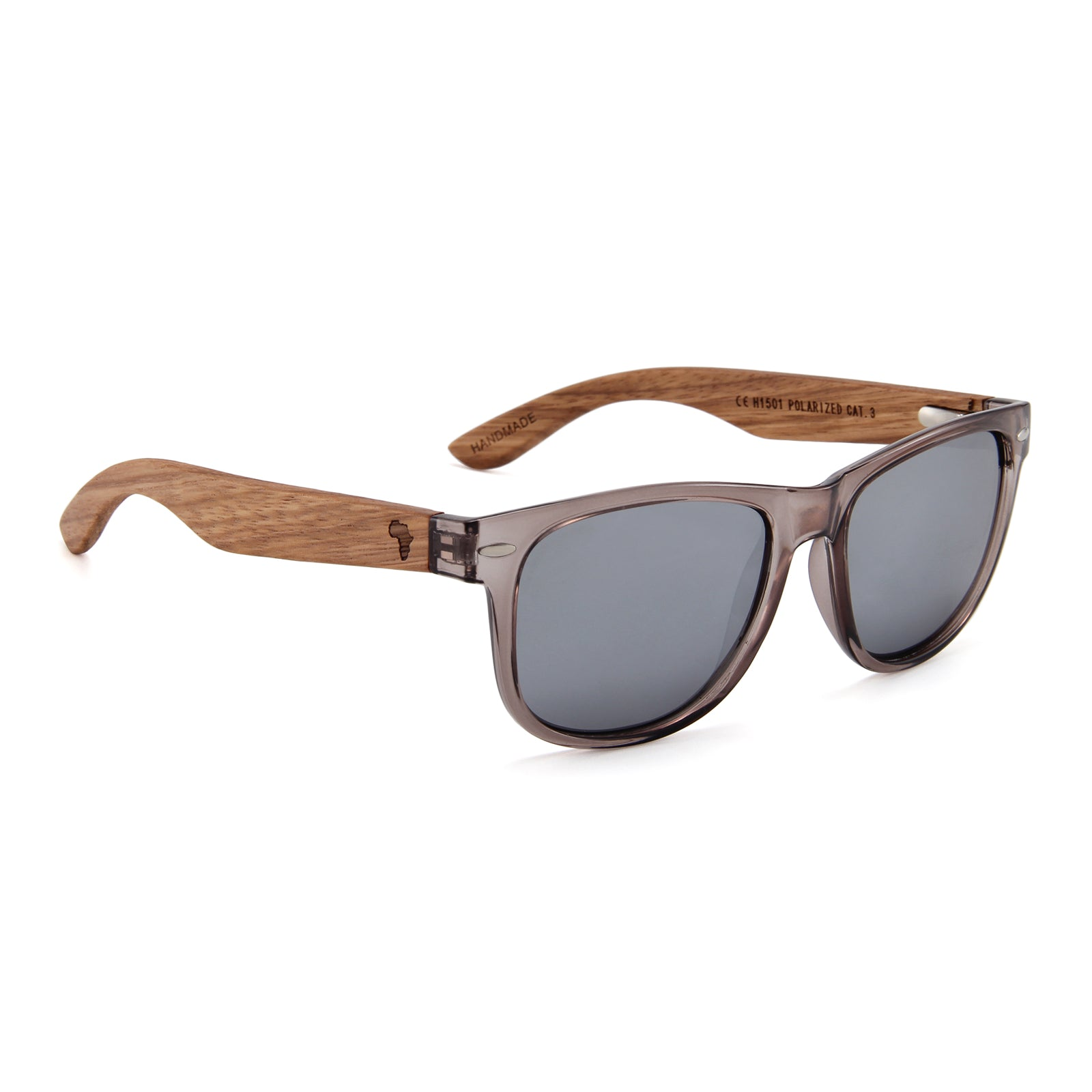 Zebra Wood Wayfarer Style Sunglasses (Grey with Silver REVO Lens)