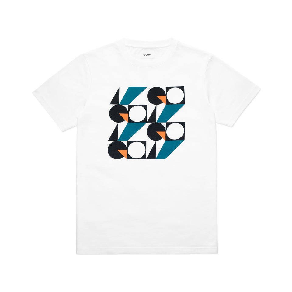 Organic cotton, T-shirt, white, gowf, shapes, branding, black, orange, green