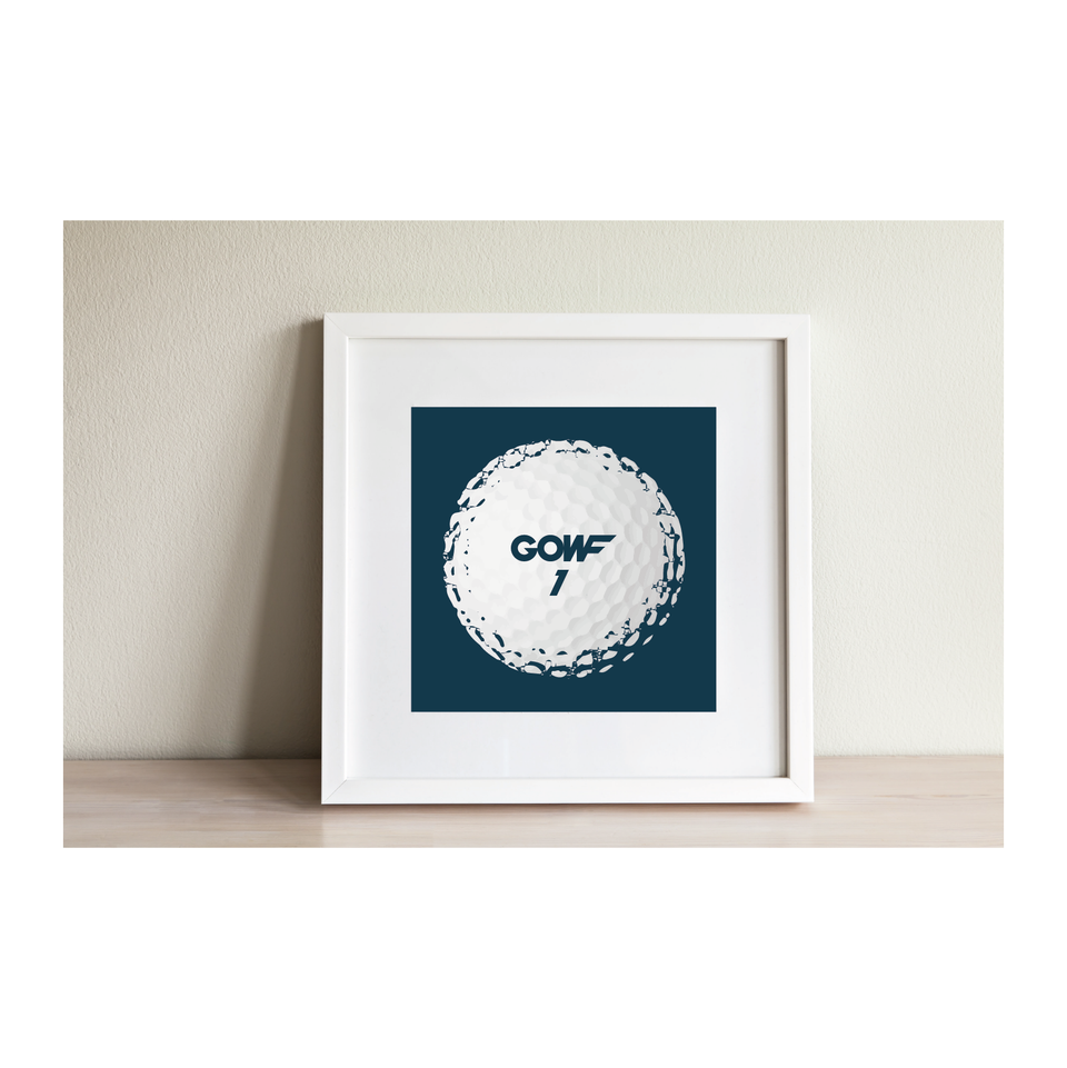 Golf ball, blue, print, framed picture