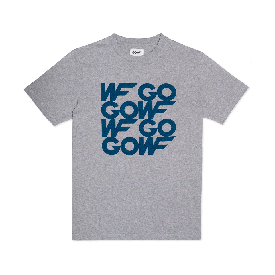 Organic cotton, T-shirt, grey marl, gowf branding, screen print