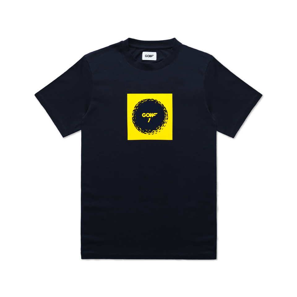 Organic cotton, T-shirt, Navy, golf ball, print, yellow