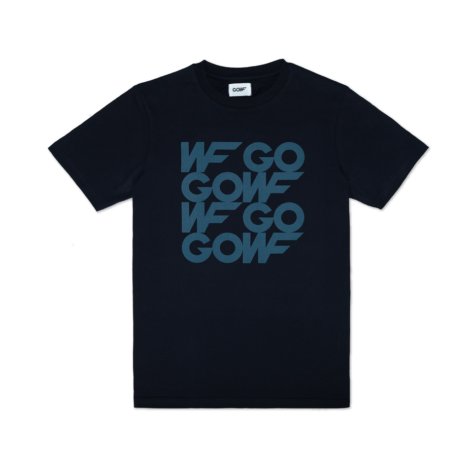 Organic cotton, T-shirt, navy, gowf branding, blue, screen print
