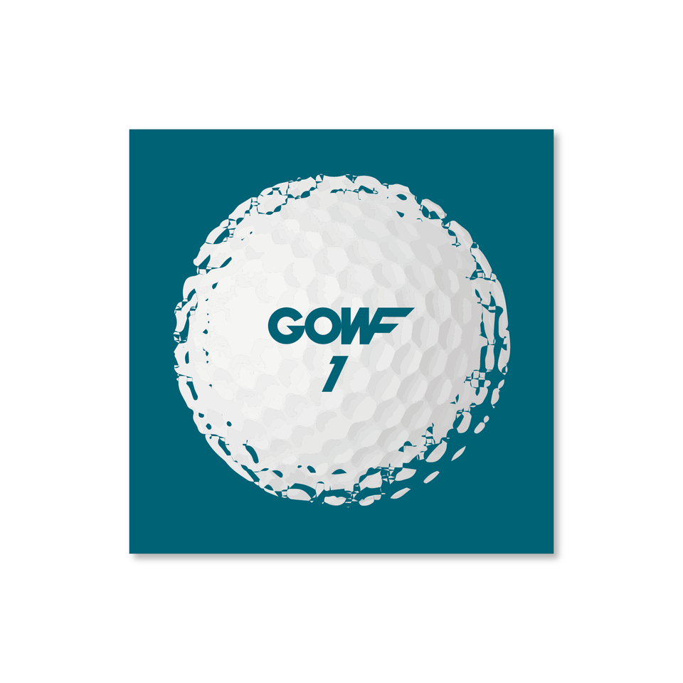 Golf ball, green, print
