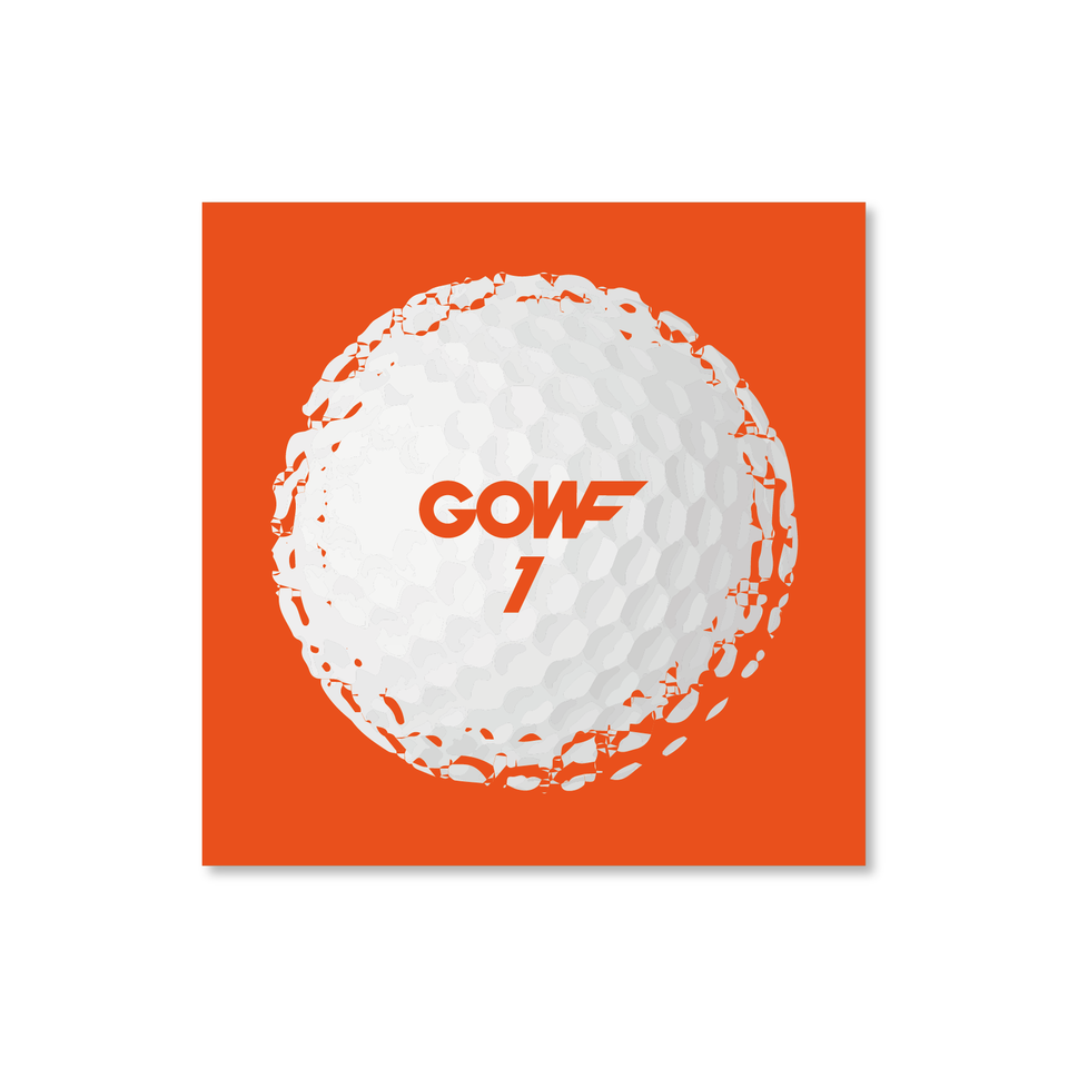 Golf ball, orange, print