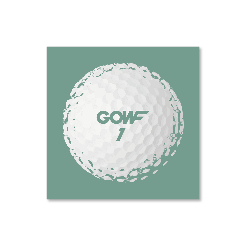 Golf ball, mint green, print