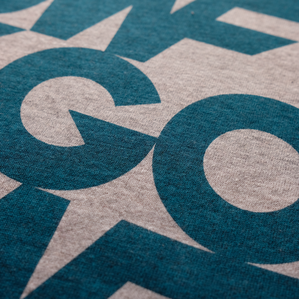 Organic cotton, T-shirt, grey marl, gowf branding, screen print, close up