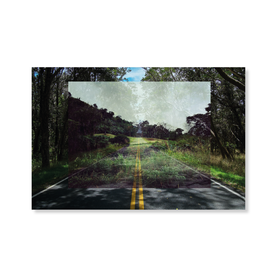 Photo, print, golf hole, double exposure, highway road