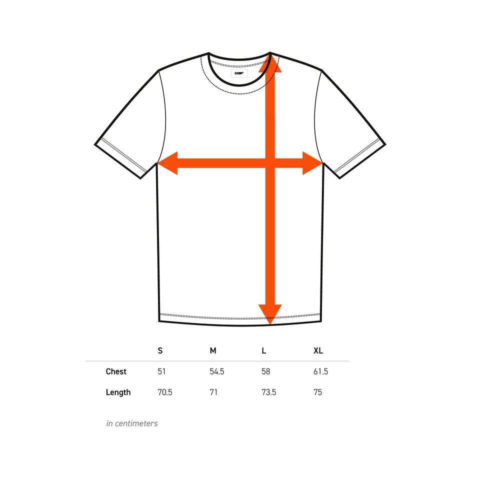 T-shirt, graphic, size chart