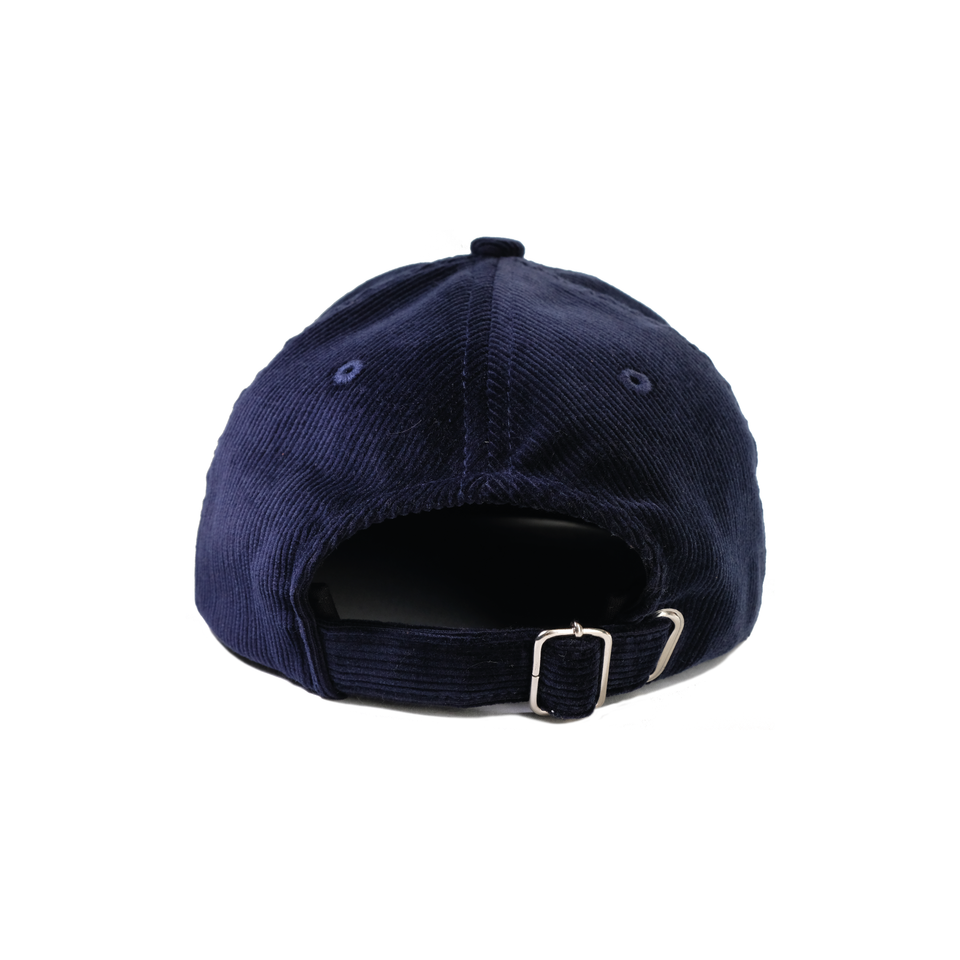 Headwear, cap, corduroy, navy, gowf branding, rear view
